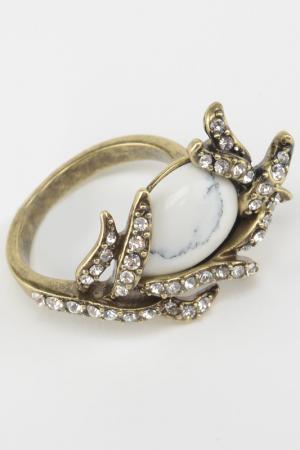 Кольцо Slava Zaitsev. Цвет: бронза, белый