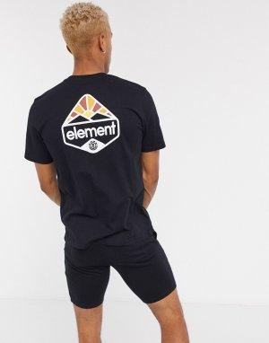 Черная футболка с принтом на спине -Черный Element