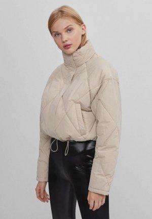 Куртка утепленная Bershka. Цвет: бежевый