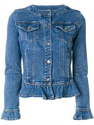 Джинсовая куртка с рюшами Twin-Set. Цвет: синий