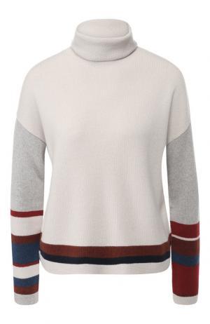 Кашемировый пуловер с воротником-стойкой Loro Piana. Цвет: светло-серый