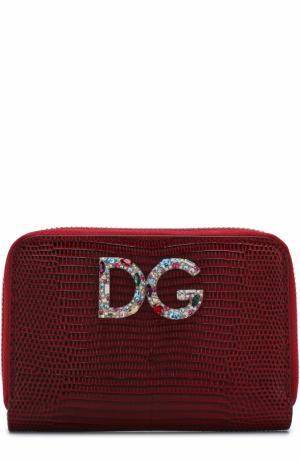 Кожаный кошелек на молнии с логотипом бренда Dolce & Gabbana. Цвет: красный