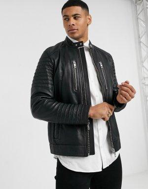 Черная кожаная байкерская куртка -Черный BOSS