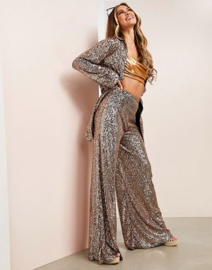 Пляжные брюки медного цвета с широкими штанинами и отделкой пайетками ASOS LUXE-Золотистый Luxe