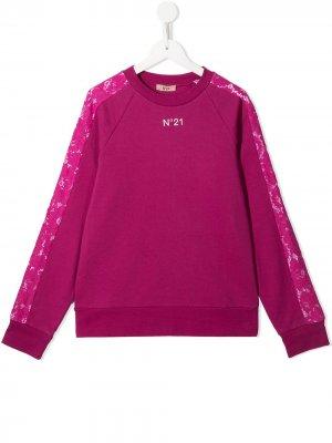 Джемпер с длинными рукавами и логотипом Nº21 Kids. Цвет: розовый