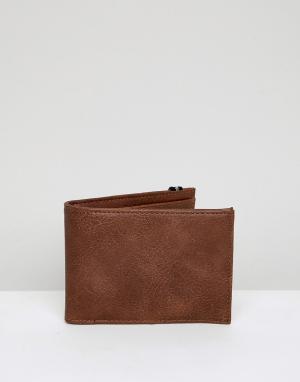 Светло-коричневый бумажник с эластичным ремешком в полоску New Look. Цвет: рыжий