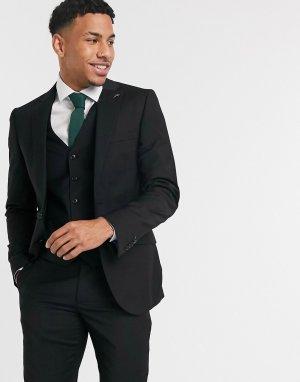 Черный однотонный костюмный пиджак узкого кроя Harry Brown