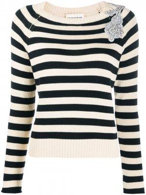 Декорированный пуловер в полоску Semicouture. Цвет: нейтральные цвета