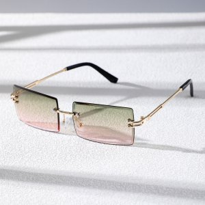 Мужской Солнцезащитные очки квадратный без оправы SHEIN. Цвет: многоцветный