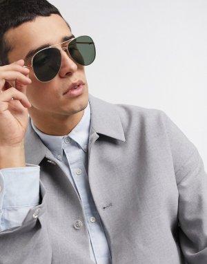 Солнцезащитные очки-авиаторы -Золотой Selected Homme