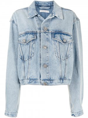 Embossed buttons denim jacket Alessandra Rich. Цвет: синий