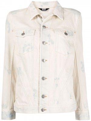 Джинсовая куртка с эффектом потертости Diesel. Цвет: белый