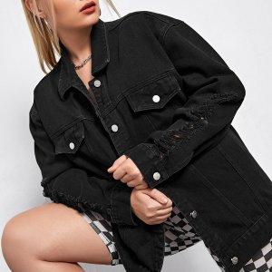 Джинсовая рваная куртка размера плюс со спущенным рукавом SHEIN. Цвет: чёрный