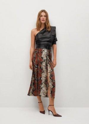 Миди-юбка с принтом - Serp Mango. Цвет: коричневый