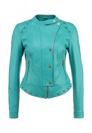 Куртка кожаная Versace Jeans. Цвет: бирюзовый