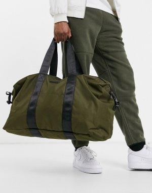 Большая спортивная сумка цвета хаки с лентой -Зеленый цвет Consigned
