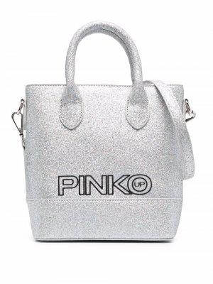 Сумка-тоут с блестками Pinko Kids. Цвет: серебристый