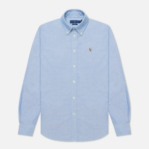 Женская рубашка Kendal Washed Oxford Slim Fit Polo Ralph Lauren. Цвет: голубой