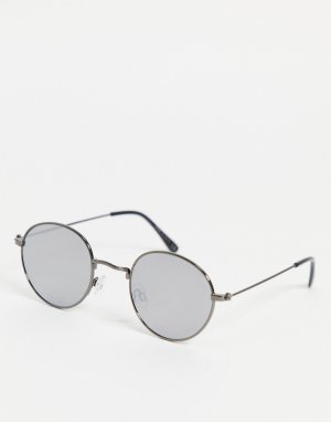 Круглые серебристые солнцезащитные очки -Серебристый River Island