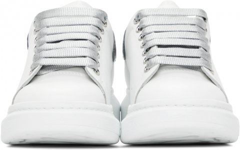 SSENSE Exclusive White & Silver Croc Oversized Sneakers Alexander McQueen. Цвет: 9071 white/silver