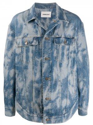 Куртка из вареного денима AMBUSH. Цвет: синий