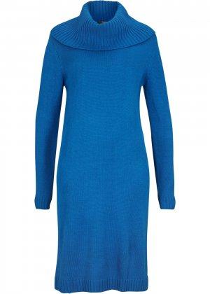 Платье вязаное bonprix. Цвет: синий