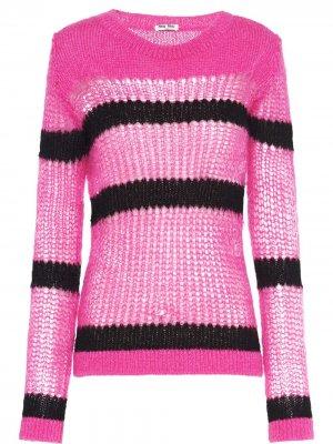 Пуловер рыхлой вязки Miu. Цвет: розовый