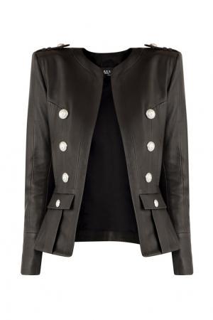 Черная кожаная куртка с пуговицами Balmain. Цвет: черный