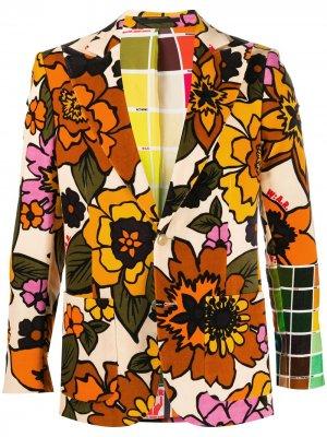 Однобортный пиджак с цветочным принтом Walter Van Beirendonck. Цвет: нейтральные цвета
