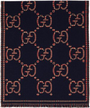 Navy Wool GG Scarf Gucci. Цвет: 4174 navy/red