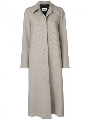 Пальто в клетку Mm6 Maison Margiela. Цвет: нейтральные цвета