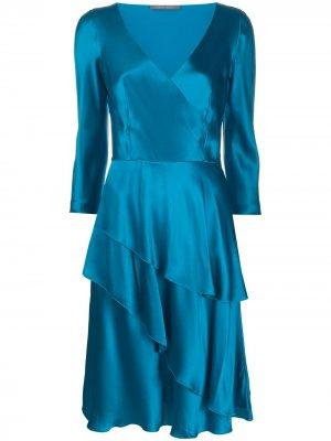 Расклешенное платье с V-образным вырезом Alberta Ferretti. Цвет: синий
