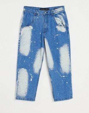 Широкие джинсы с эффектом отбеливания от комплекта -Голубой LDN DNM