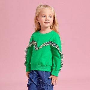 Для девочек Свитшот с цветочным рисунком контрастный оборкой SHEIN. Цвет: зелёный