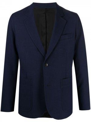 Пиджак на пуговицах с накладными карманами AMI Paris. Цвет: синий