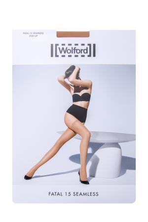 Бесшовные чулки Fatal 15 seamless Stay-Up бежевого цвета WOLFORD. Цвет: бежевый