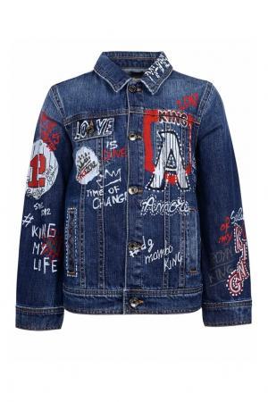 Джинсовая куртка с принтом Dolce&Gabbana Children. Цвет: синий