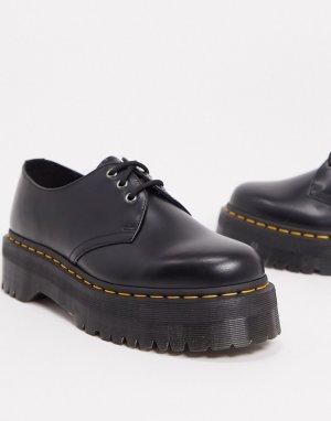 Черные туфли на платформе с 3 парами люверсов 1461-Черный Dr Martens
