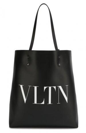 Кожаная сумка-шопер Garavani VLTN Valentino. Цвет: чёрный