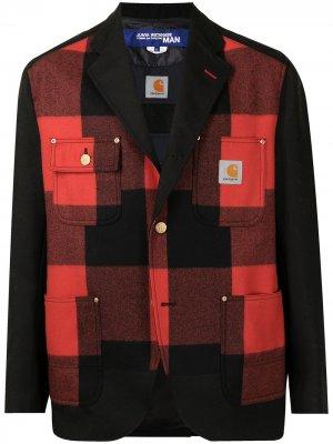 Пиджак в клетку из коллаборации с Carhartt Junya Watanabe MAN. Цвет: красный