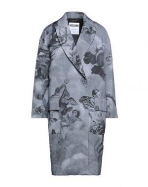 Пальто MOSCHINO. Цвет: серый