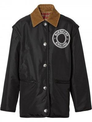 Двусторонняя куртка со съемными рукавами и логотипом Burberry. Цвет: черный