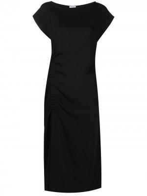 Платье со сборками и короткими рукавами P.A.R.O.S.H.. Цвет: черный