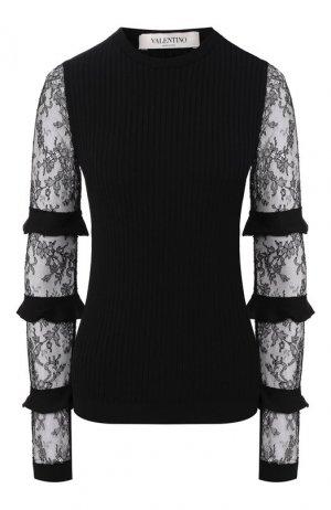 Пуловер из вискозы Valentino. Цвет: черный