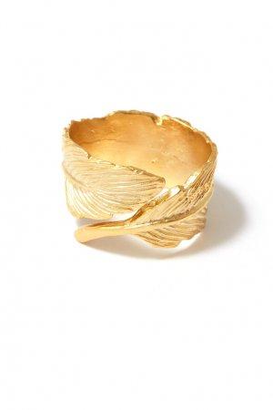 Золотистое кольцо-перо Aqua. Цвет: золотой