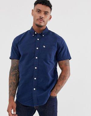 Темно-синяя оксфордская рубашка с короткими рукавами Abercrombie & Fitch