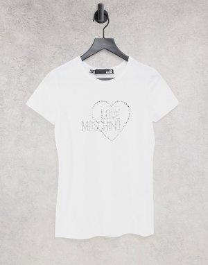 Белая футболка с логотипом и стразами -Белый Love Moschino