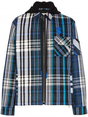 Легкая куртка в клетку с капюшоном Off-White. Цвет: синий