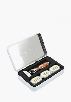 Набор для бритья Shave Lab SEIS Wild Orange- P.L.6+ женщин Дикий апельсин/серебро, комплект 6+(с увлажняющей подушечкой) лезвий х 4шт. Цвет: оранжевый