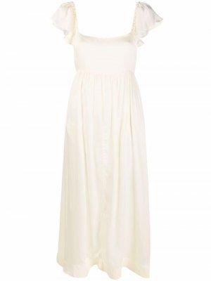 Атласное платье макси с бантом byTiMo. Цвет: нейтральные цвета
